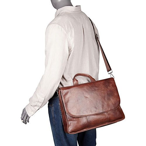 Dr. Koffer Fine Leather Accessories Rustic Laptop Messenger w/ Handle - eBags.com