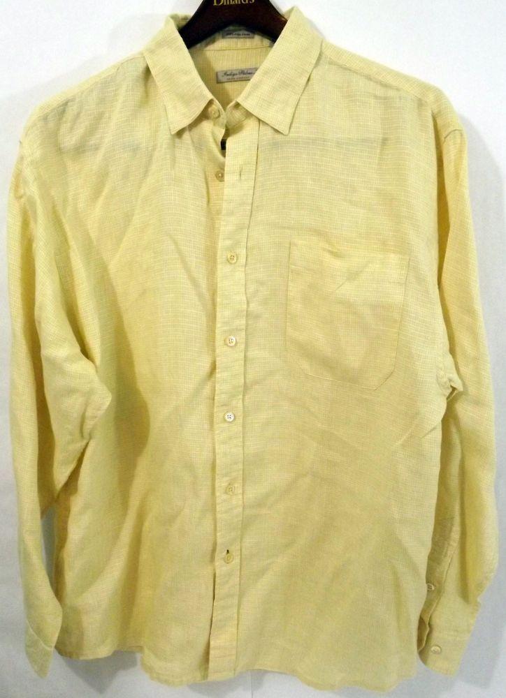 5fd9acf433 LN Indigo Palms Denim Co L Yellow Microcheck Irish Linen LS Button Down  Shirt