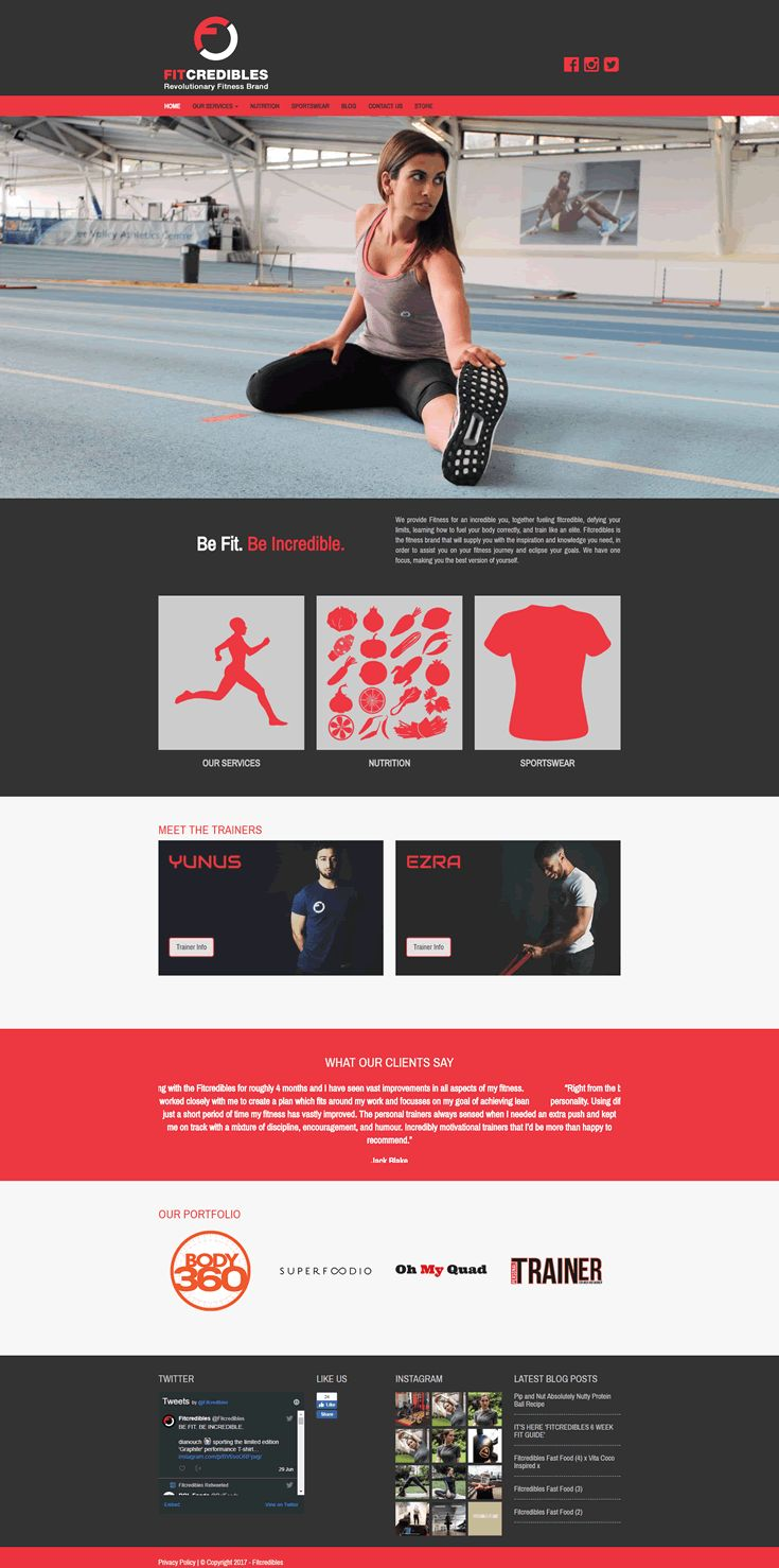 Website created for Fit Credible, a personal fitness company