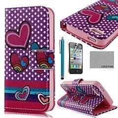COCO FUN ® Purple Heart PU læder Full Body Case med Screen P... – DKK kr. 60