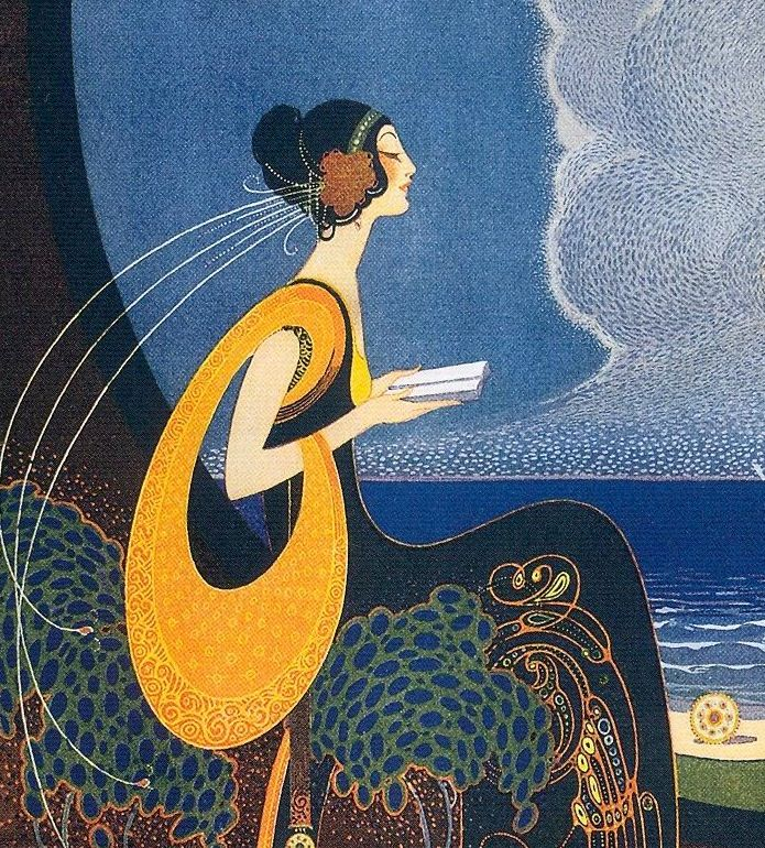 Art deco print of woman with book