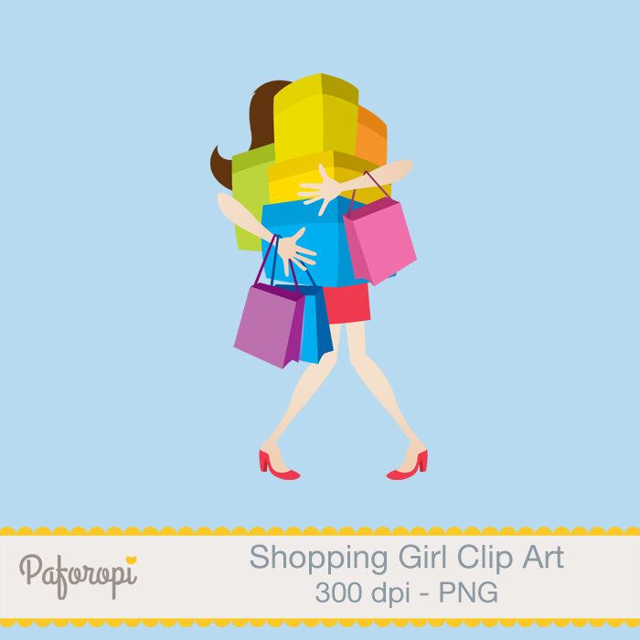Shopping Girl - Shopaholic Clip Art by Paforopi on Etsy https://www.etsy.com/uk/listing/276336498/shopping-girl-shopaholic-clip-art