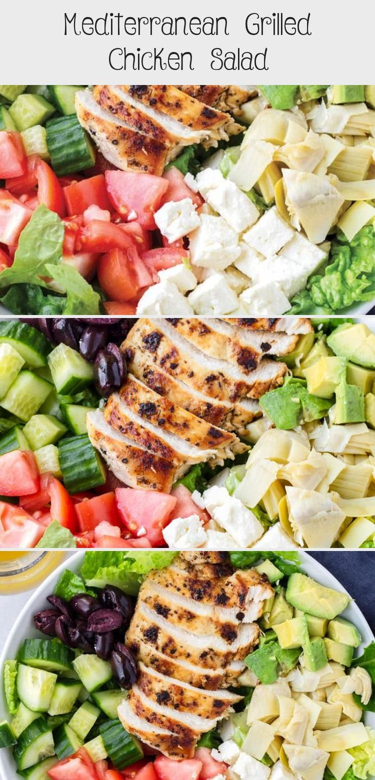 The best Mediterranean Chicken Salad! This Mediterranean grilled chicken salad is made with juicy a flavorful grilled chicken breast, complete with a mediterranean red wine dressing. Tossed feta, olives, avocado, and artichokes #cookingformysoul #mediterraneansalad #mediterraneandiet #grilledchickensalad #grilledchicken #mediterraneangrilledchicken   cookingformysoul.com #saladrecipesCeasar #Potatosaladrecipes #Christmassaladrecipes #Springsaladrecipes #Cabbagesaladrecipes