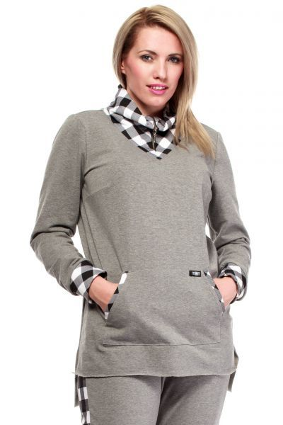 Szara asymetryczna bluza plus size
