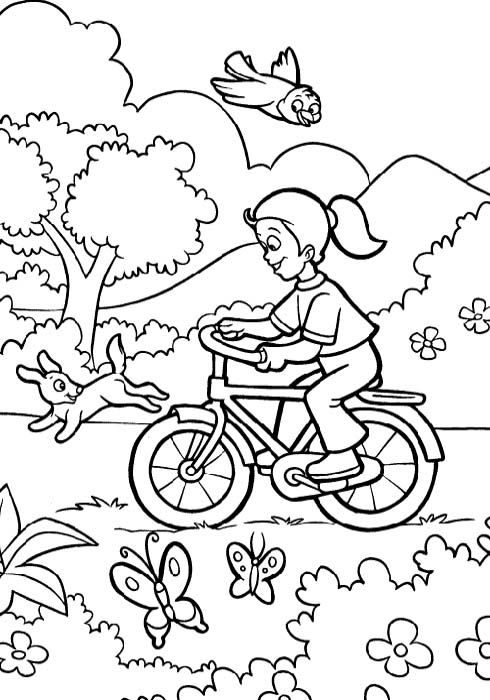 Welcome Spring Coloring Pictures - Spring day cartoon ...