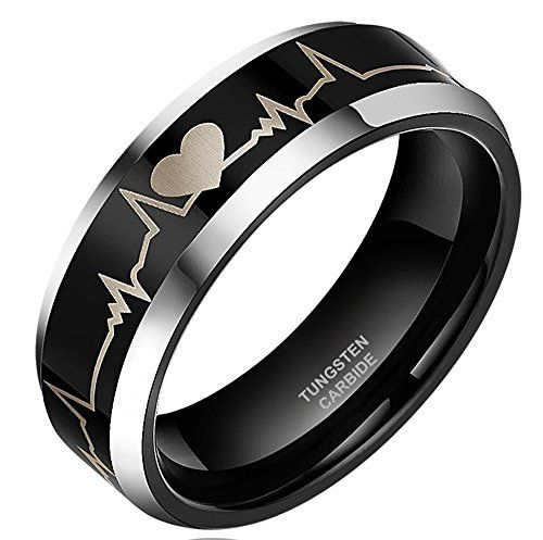 6mm/8mm Black Tungsten Carbide Ring Forever Love Heartbeat Laser Engraved Comfort Fit, Comes with Free Ring Box 8mm (Size 13) SOMEN TUNGSTEN http://www.amazon.com/dp/B00AZFSJ12/ref=cm_sw_r_pi_dp_1bk0vb0D39R8A