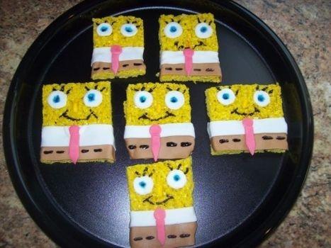 Sponge Bob Rice Krispie Treats  Hunter would think this was so cool