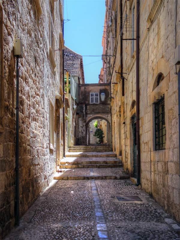 Medieval lane way, Dubrovnik, Old City.
