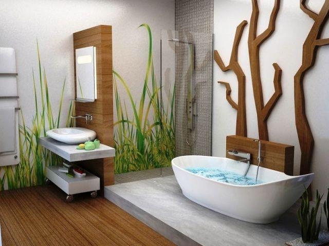 salle de bain conception nature: branches et tiges vertes