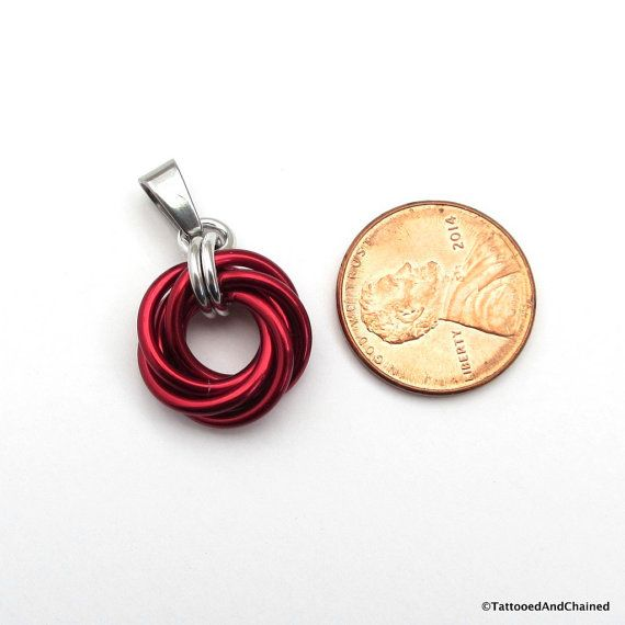 Red pendant necklace chainmail love knot by TattooedAndChained