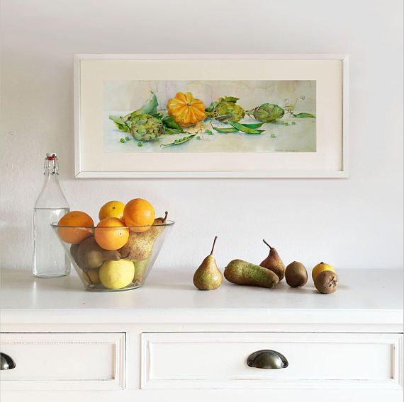 Original Watercolor Painting. Still life with Pumpkin