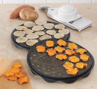 If you want a healthy version of potato chips to put in your kids' lunches, try Pampered Chef's new potato chip maker. It makes light and crispy chips in just minutes in the microwave without the use of fat or oil. It can be used with many vegetables and fruit, such as potatoes, sweet potatoes, yucca and apples.