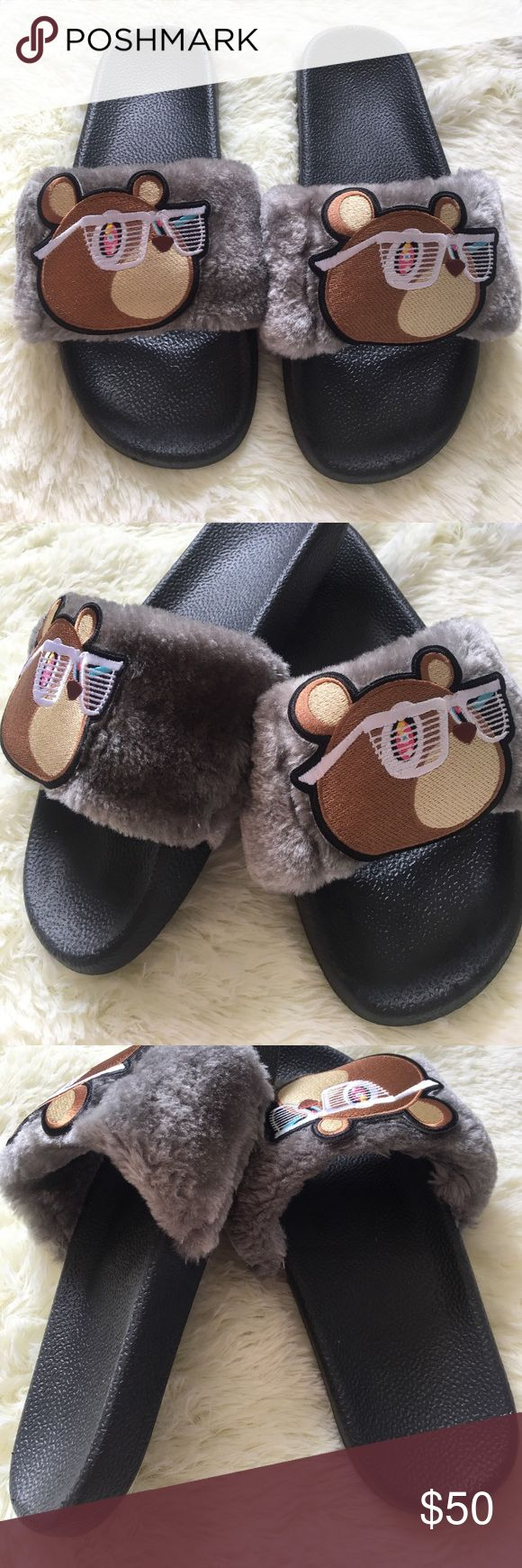 Custom Kanye West yeezy bear fur slide slippers Custom made. Slides say EU 40 but run as a 7.5. Brand new Shoes Slippers