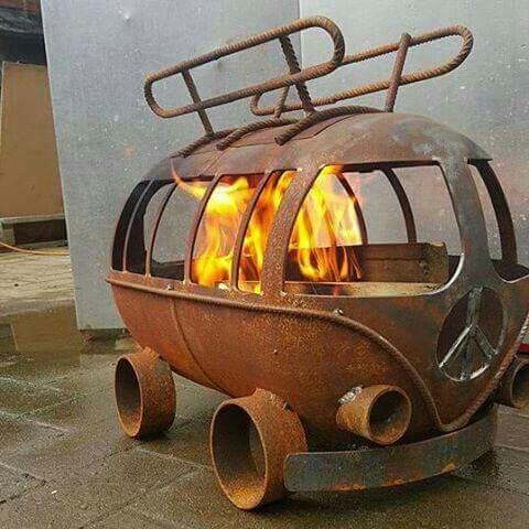 Amazing VW van shaped bon fire