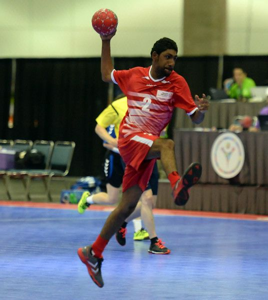 . United Arab Emirat\'s Sayah Alhabash (2) scores against the Netherlands during the Handball event during Special Olympics World games at the Los Angeles Convention Center in Los Angeles, Calif., Tuesday, July 28, 2015.  (Photo by Keith Birmingham/ Pasadena Star-News)