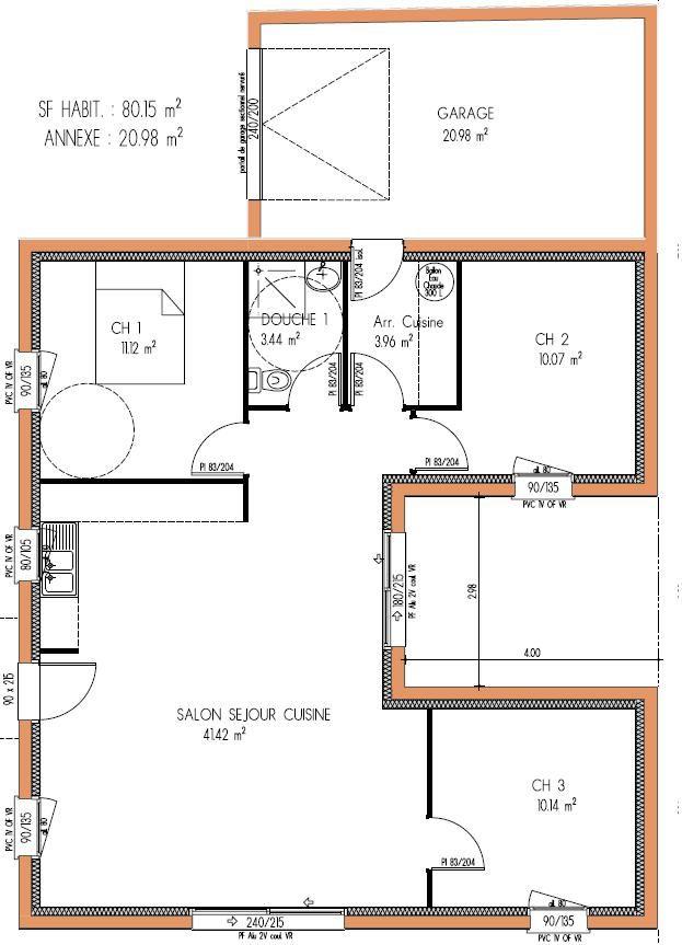 96 best plan maison images on Pinterest Cottage floor plans - plan maison en u ouvert