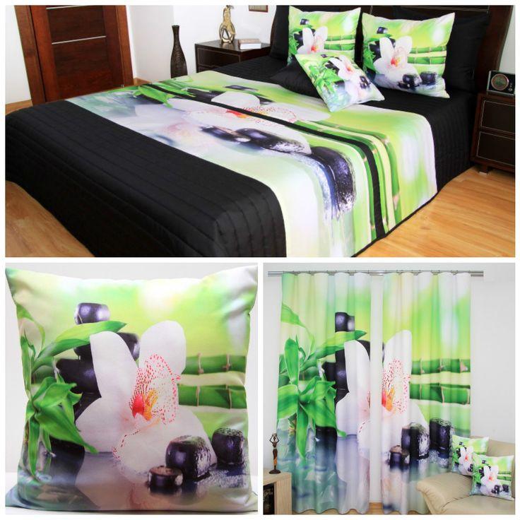 Čierno-zelený set do spálne  s bielym kvetom a bambusom