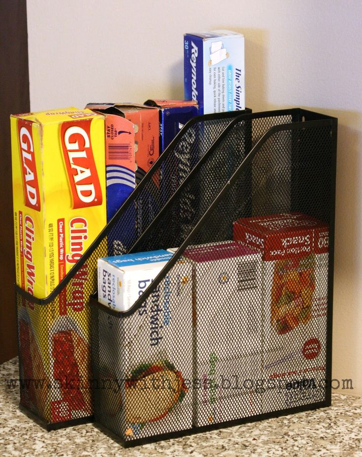 Quick Tips Using old magazine racks for storing sandwich bags, saran wrap, etc. http://skinnywithjess.blogspot.com/p/quick-tips.html
