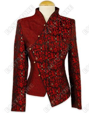 This incredible Chinese Calligraphy Brocade Jacket is the essence of femininity! Two-tone at the...