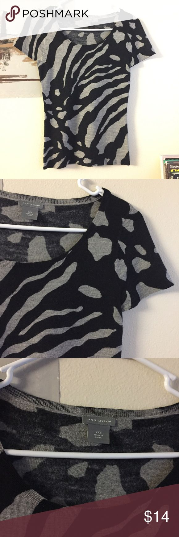 Ann Taylor zebra print black & grey women top In like new condition. Worn only a few times. No imperfections, peeling, holes or damage. Ask if have any questions. Ann Taylor Tops Tees - Short Sleeve