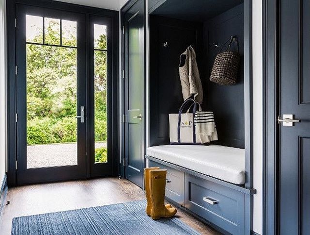 Bphloves This Dark Blue Mudroom With Builtin Bench