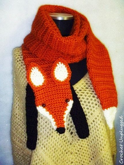 WTF :-) (Wrap The Fox) Faux Fox Scarf - Funky - Hip - Cool - Hand crocheted - Accessory (Made To Order)