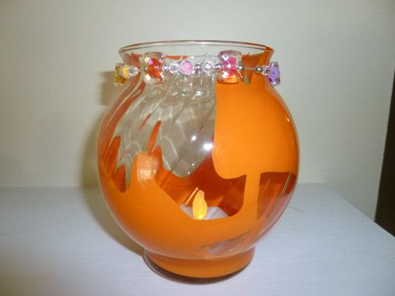 Roll Painted Glass Orange Night Light by TrueColorsBoutique
