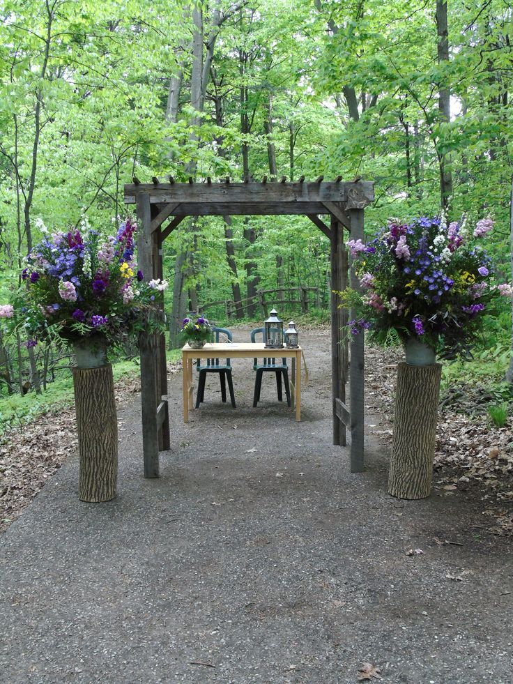 beautiful altar setting for the ceremony on May 15, 2015 on the Forest Path