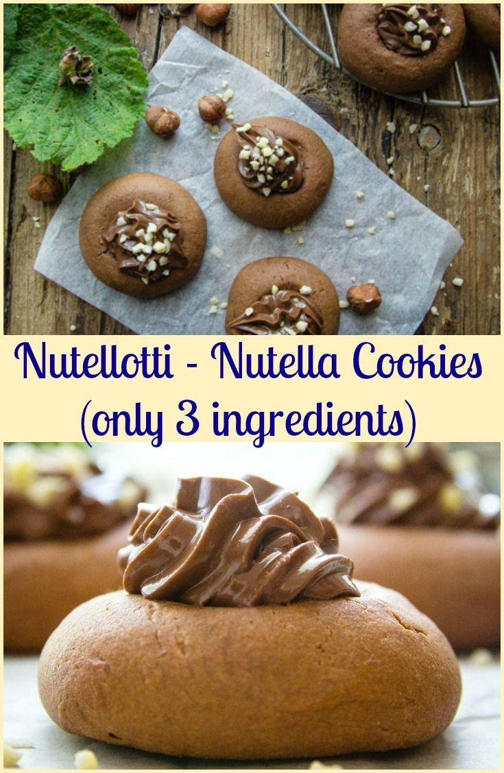 Nutellotti Cookies, Nutella Cookies, three ingredient Italian Cookie recipe, fast and easy, a delicious Snack or Dessert idea. #cookies #Nutella #Italian #one bowl #snack via @https://it.pinterest.com/Italianinkitchn/