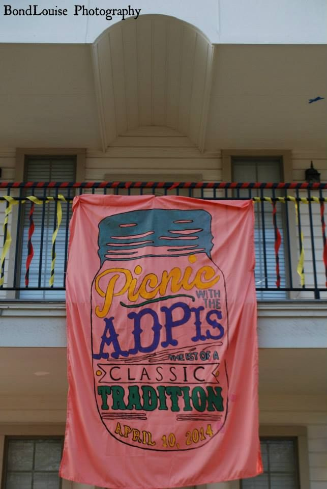 Sisters at Theta Xi's first Lion's Share Challenge. ADPicnic was a hotdog dinner night with a live DJ, inflatables and lots of fun! This was their banner for the event! #philanthropy #RMHC #adpi #boomboom #banner
