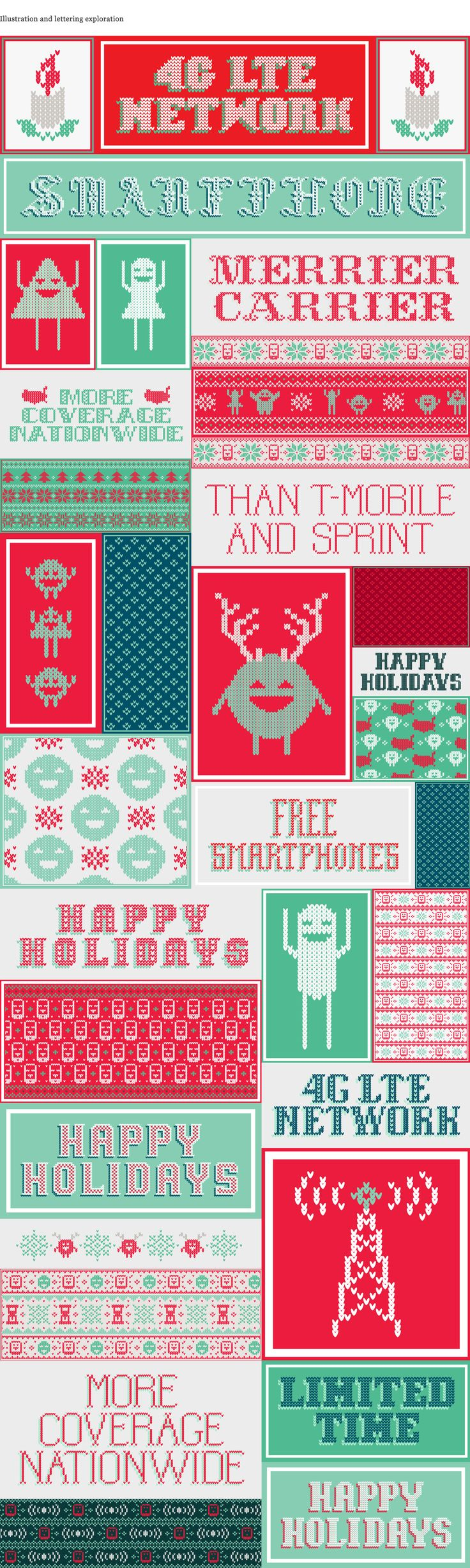 I worked with Psyop in the creation of this christmas ad for Cricket Wireless designing the illustrations, patterns and lettering pieces for the sweaters. They are all christmas inspired with a twist, giving it a look more in tune with the product advertised.
