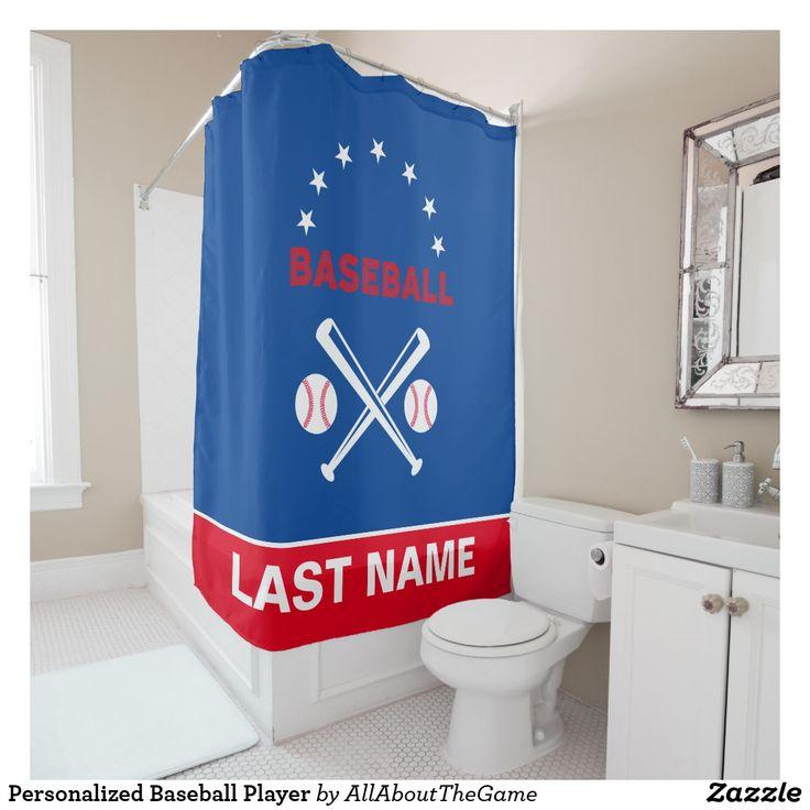 Personalized Baseball Player Shower Curtain Zazzle Com