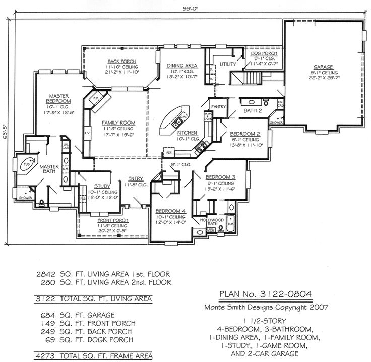 House plans family room in front for Game room floor plans ideas
