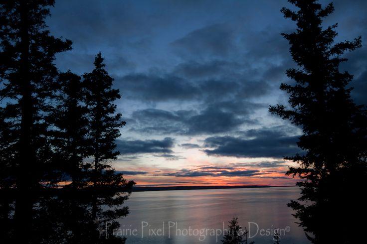 A beautiful sunset on Waskesiu Lake in Prince Albert National Park.