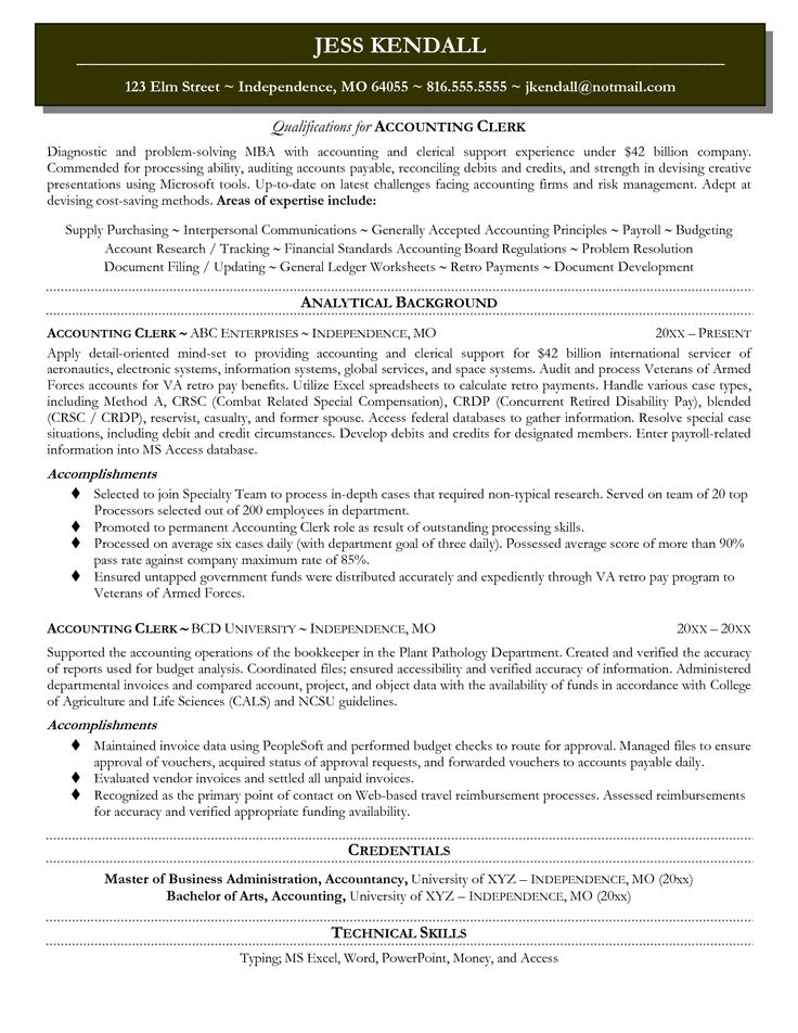 27 best Resume Samples images on Pinterest Executive resume - accounting clerk resume objective