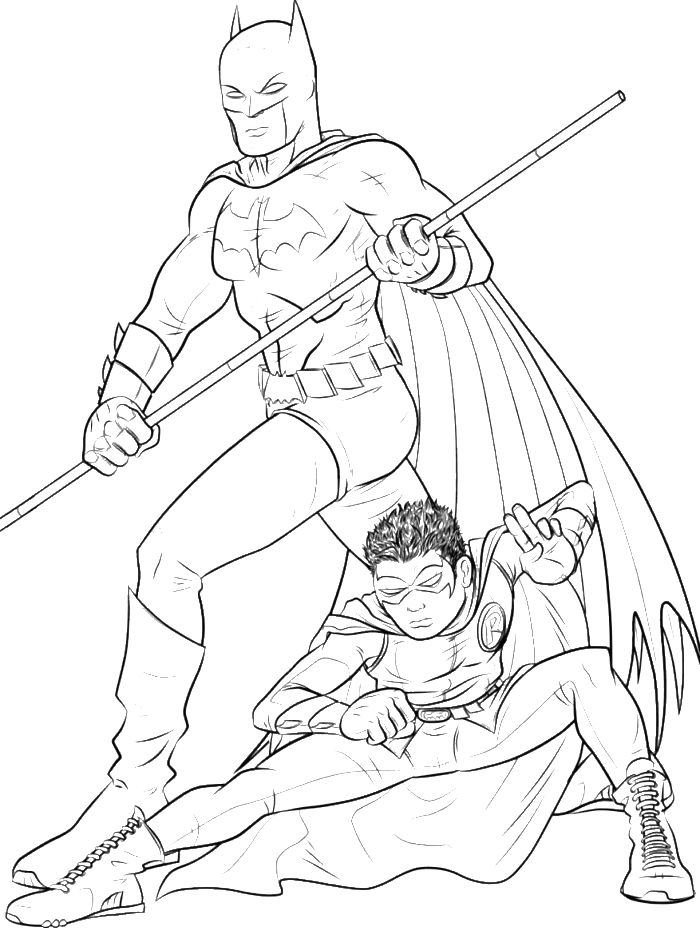 Batman With Robin In Action Coloring For Kids