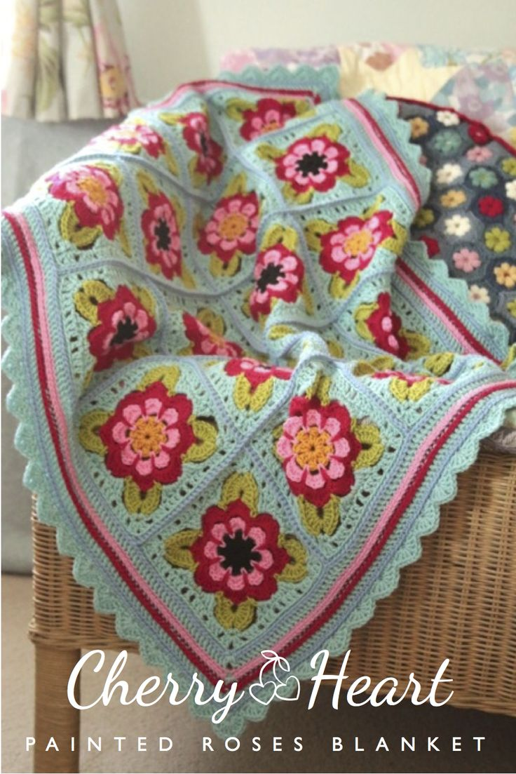 Cherry Heart: Painted Roses Blanket Inspired by the painted flowers on narrowboats, I love these colourful rose granny squares!