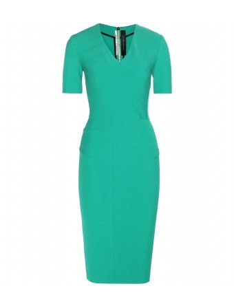"""Master of the structured dress, Roland Mouret strikes again with this tailored and sophisticated stretch crepe number. The flattering V-neckline will draw the eye upwards to your face, while the striking emerald hue makes it the perfect piece for transitioning from business meetings to cocktails."""