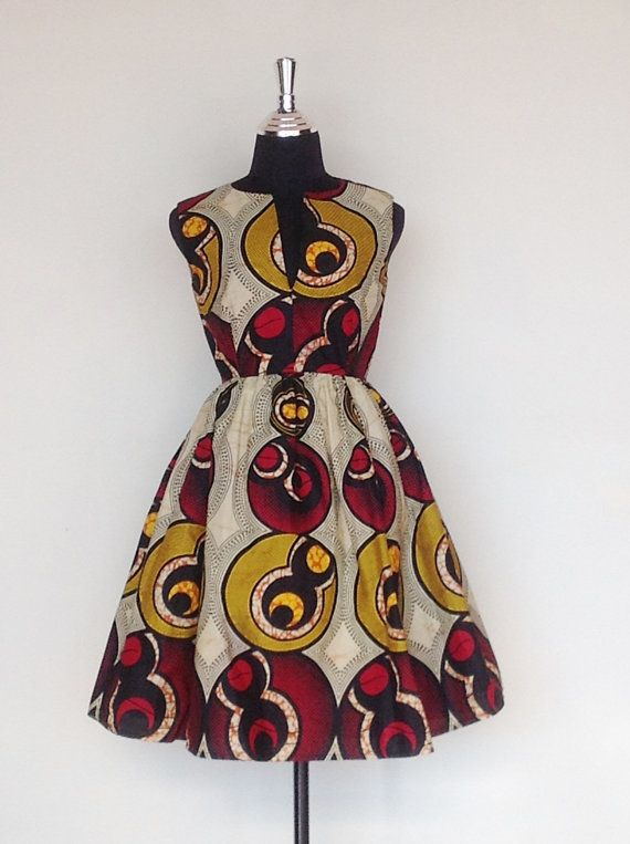 Josephine Sydney of NSW, Australia, has this 1960's inspired African cotton day dress on her Etsy shop, 123.00 usd.