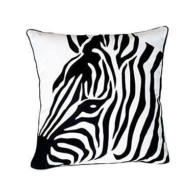 Zebra Head Cotton Decorative Pillow Cover – USD $ 14.99