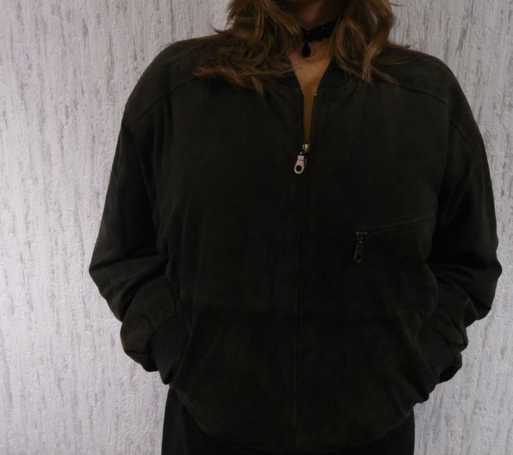 Vintage soft leather suede bomber jacket dark green by SweetSpicyVintage on Etsy