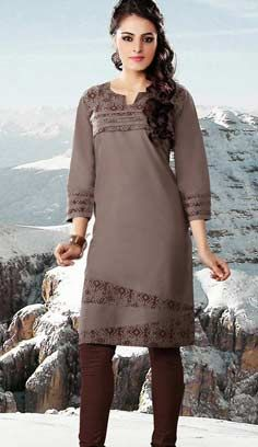 Indian Fashionable Dusty Brown Cotton Kurti Best For Online Shopping