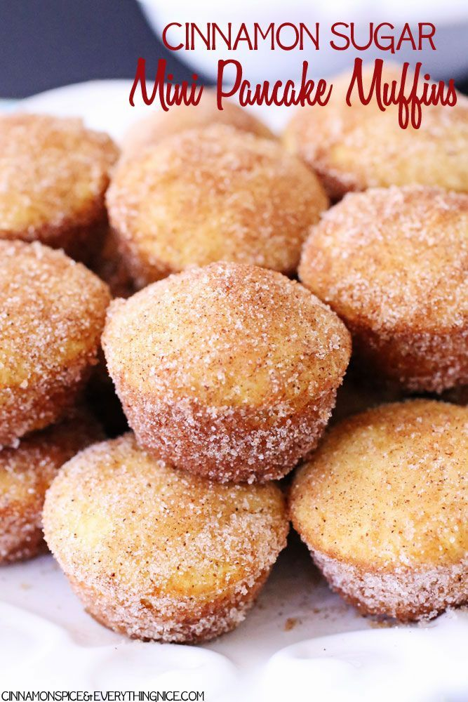 Cinnamon sugar coated pancakes baked in portable mini muffin form are super easy to make and twice as fun to eat.