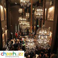 LED Vintage Birdcage Iron Restaurant Villa Chandelier Crystal Pendant Light Lamp