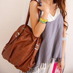 $9.53 Fashion Women's Satchel With Buckle and Solid Color Design