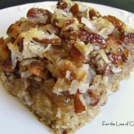 oatmeal cake with coconut pecan frosting- yummy