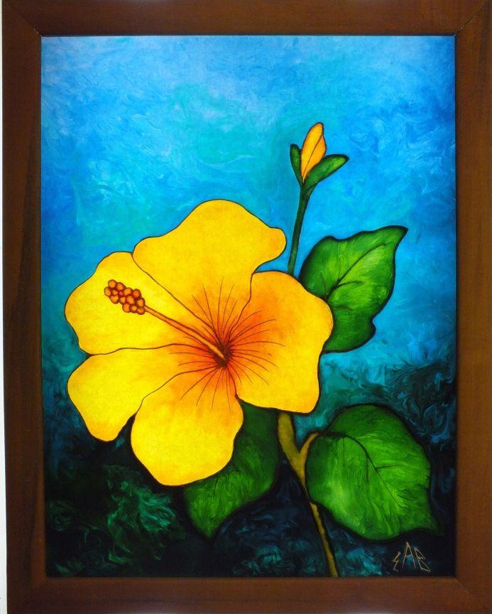 Peinture sur verre glass painting hibiscus 9 x 12 peut for Verre de fenetre