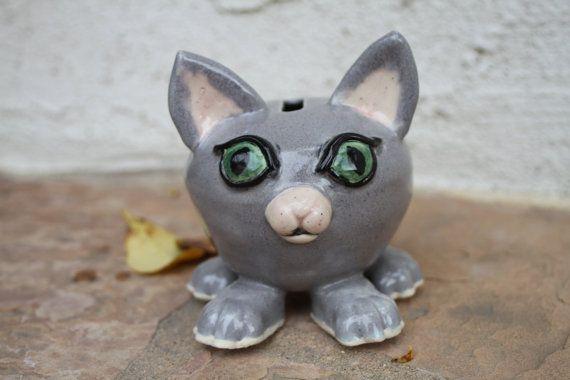 Grey Cat Piggy Bank handmade ceramic piggy by ManuelaMarinoCeramic