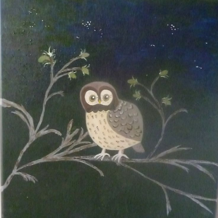 Handpainted Owl on Branch