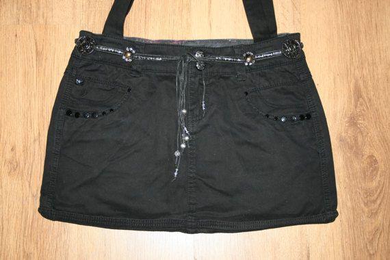 Jeanstasche schwarz Umhängetasche 2 Tragegurte
